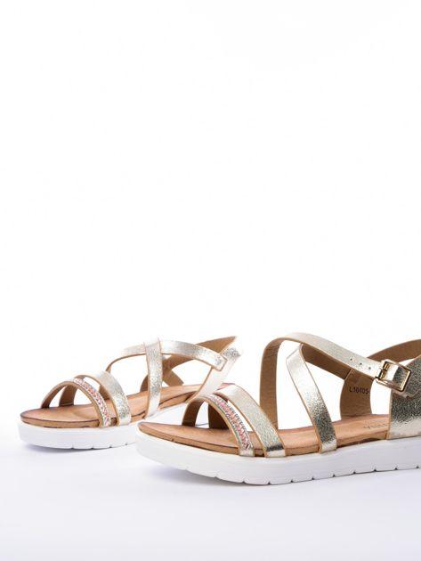Złote sandały SABATINA z biżuteryjnym paskiem                              zdj.                              3