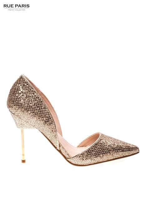 Złote szpilki glitter na metalowej szpilce                                  zdj.                                  1