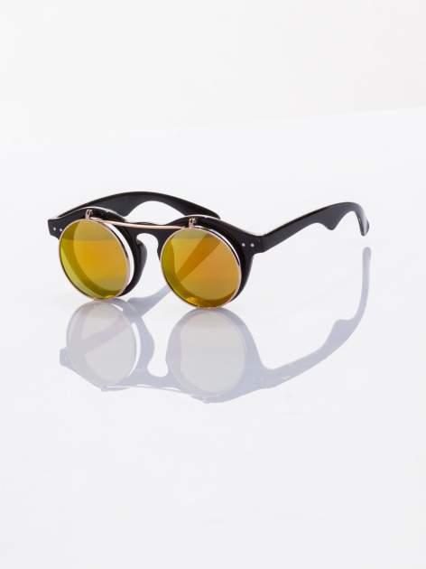 Złoto-czarne okulary przeciwsłoneczne w stylu vintage retro lustrzanki