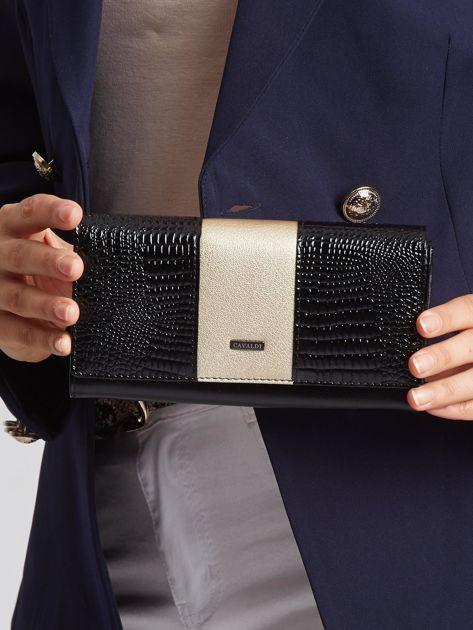Złoto-czarny skórzany portfel