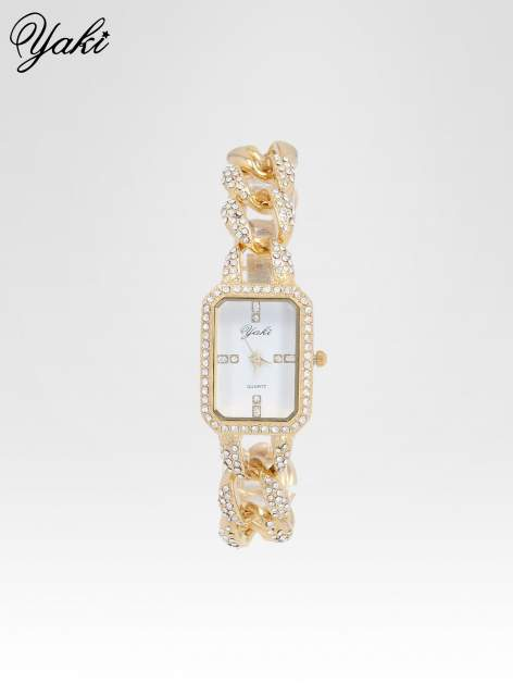 Złoty biżuteryjny zegarek damski na bransolecie z cyrkoniami