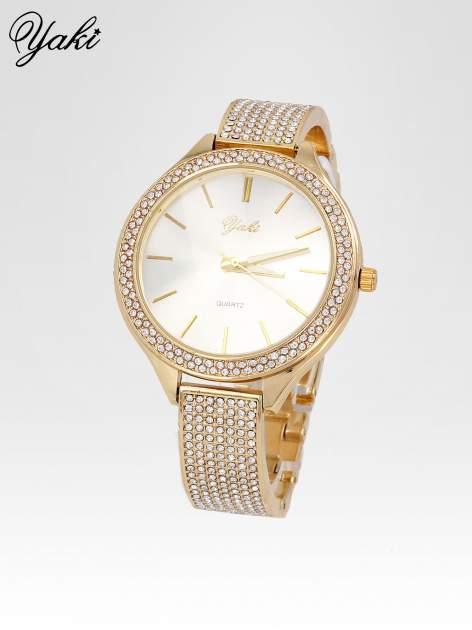 Złoty cyrkoniowy zegarek damski na bransolecie                                  zdj.                                  2