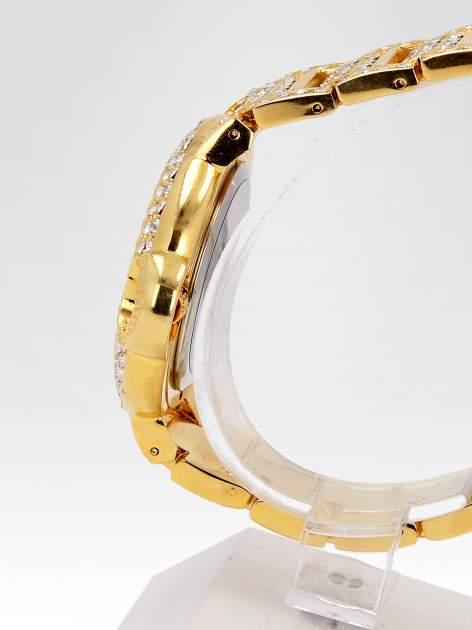 Złoty cyrkoniowy zegarek na bransolecie z ozdobą przy koronce                                  zdj.                                  3
