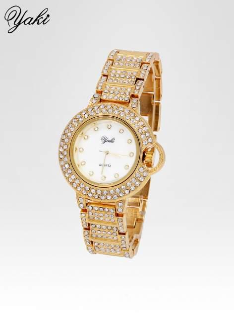 Złoty cyrkoniowy zegarek na bransolecie z ozdobą przy koronce                                  zdj.                                  2
