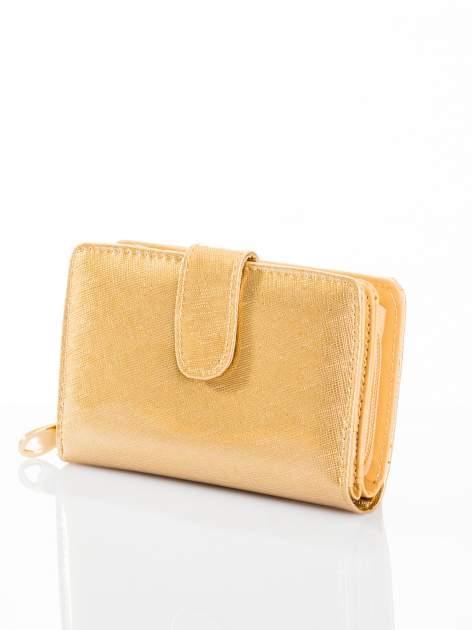 Złoty portfel efekt skóry saffiano                                  zdj.                                  2