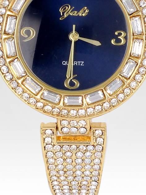 Złoty zegarek biżuteryjny z granatową tarczą i cyrkoniami                                  zdj.                                  5