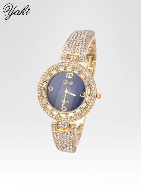 Złoty zegarek biżuteryjny z granatową tarczą i cyrkoniami                                  zdj.                                  2