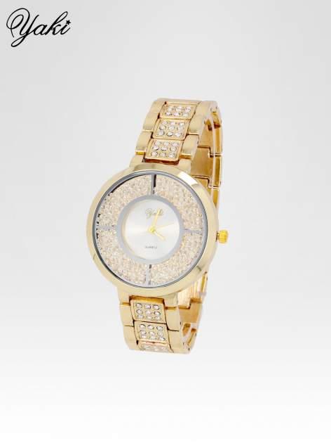 Złoty zegarek damski na bransolecie z białą cyrkoniową tarczą                                  zdj.                                  2