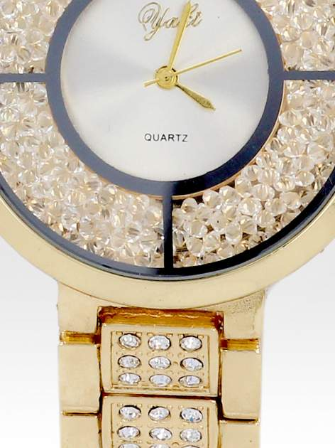 Złoty zegarek damski na bransolecie z białą cyrkoniową tarczą                                  zdj.                                  5