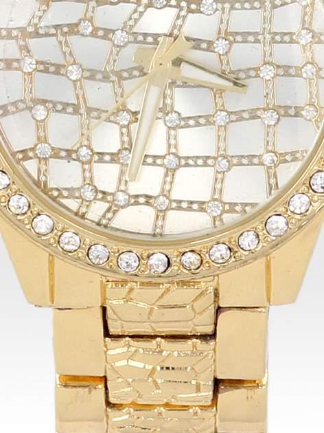 Złoty zegarek damski na bransolecie z cyrkoniową kopertą                                  zdj.                                  5