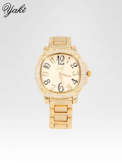 Złoty zegarek damski na bransolecie z dużymi cyframi