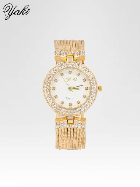 Złoty zegarek damski na bransolecie z łańcuszków z białą tarczą                                  zdj.                                  1