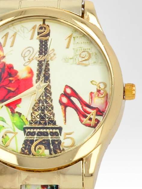 Złoty zegarek damski na bransolecie z motywem Paryża                                  zdj.                                  6