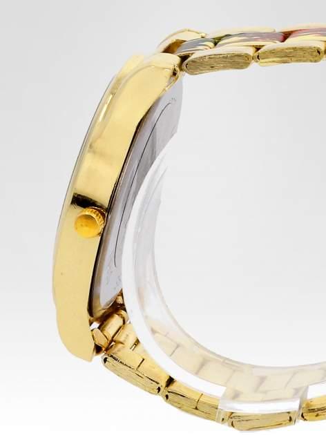 Złoty zegarek damski na bransolecie z motywem roślinnym                                  zdj.                                  3