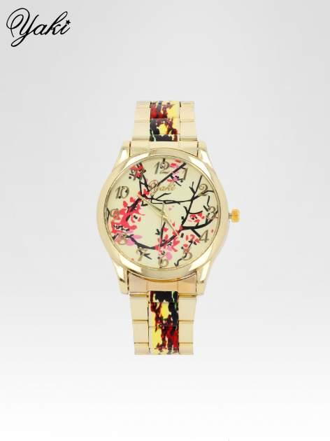 Złoty zegarek damski na bransolecie z motywem roślinnym                                  zdj.                                  1