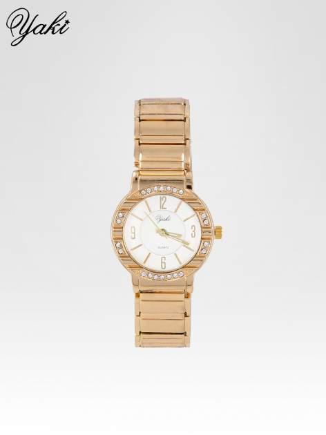 Złoty zegarek damski na bransolecie z okrągłą kopertą z cyrkoniami