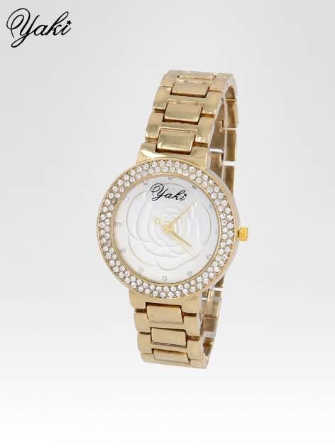 Złoty zegarek damski na bransolecie z różą na tarczy                                  zdj.                                  2