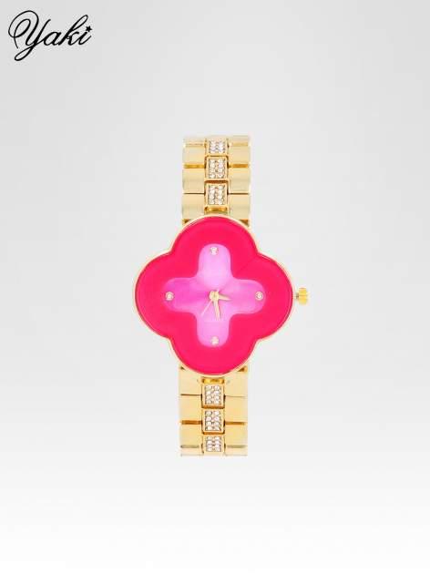 Złoty zegarek damski na bransolecie z różową tarczą koniczyną