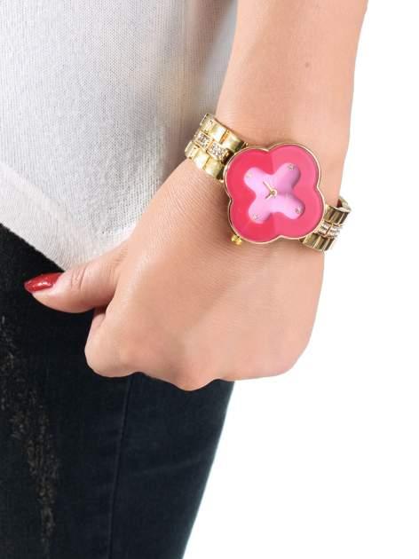 Złoty zegarek damski na bransolecie z różową tarczą koniczyną                                  zdj.                                  3