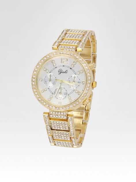 Złoty zegarek damski na bransolecie zdobiny cyrkoniami                                  zdj.                                  2