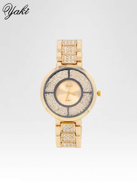 Złoty zegarek damski na bransolecie ze złotą cyrkoniową tarczą                                   zdj.                                  1