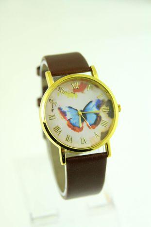 Złoty zegarek damski na brązowym pasku