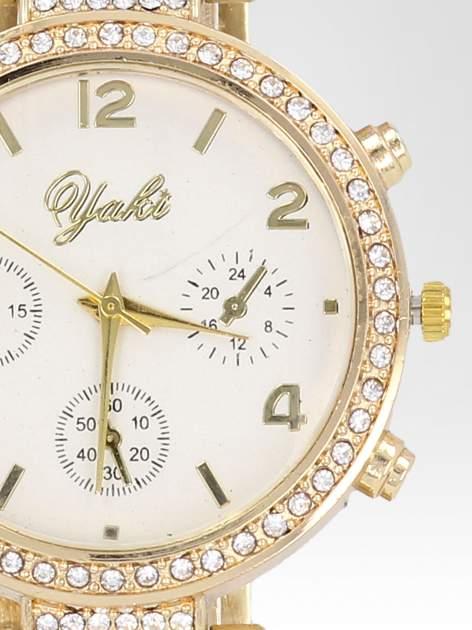 Złoty zegarek damski na cyrkoniowej bransolecie                                  zdj.                                  6