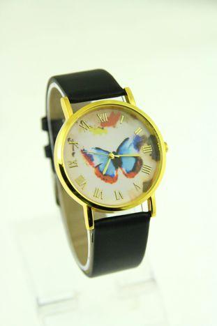 Złoty zegarek damski na czanym pasku