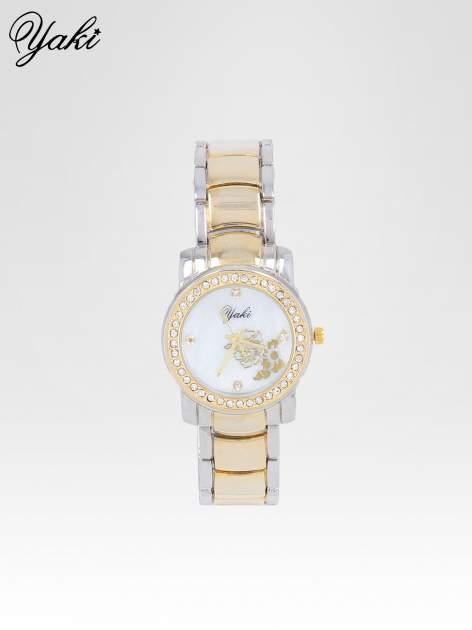 Złoty zegarek damski z grawerem kwiatów