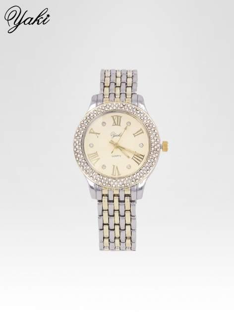 Złoty zegarek na bransolecie z cyrkoniami wokół koperty                                  zdj.                                  1