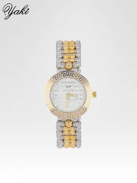 Złoty zegarek na bransolecie z grawerem wokół białej tarczy                                  zdj.                                  1