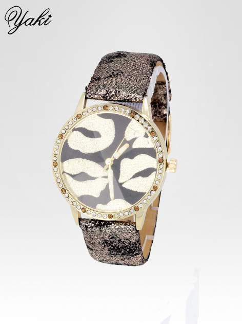 Złoty zegarek na pasku z motywem KISS                                  zdj.                                  2
