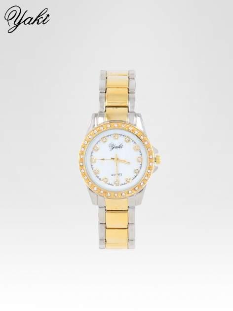 Złoty zegarek z cyrkoniami wokół koperty i tarczy