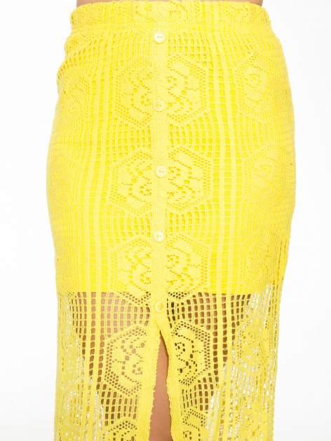 Żółta ażurowa spódnica maxi z rozporkiem                                  zdj.                                  8