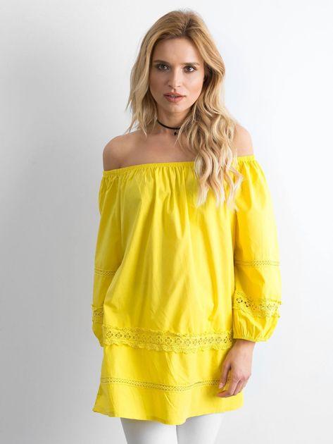 Żółta bawełniana tunika z hiszpańskim dekoltem                              zdj.                              1