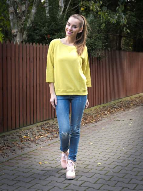 Żółta bluza oversize z łączonych materiałów                                  zdj.                                  9