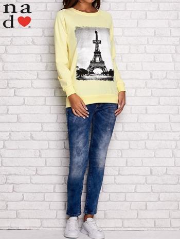 Żółta bluza z motywem Wieży Eiffla                                  zdj.                                  2