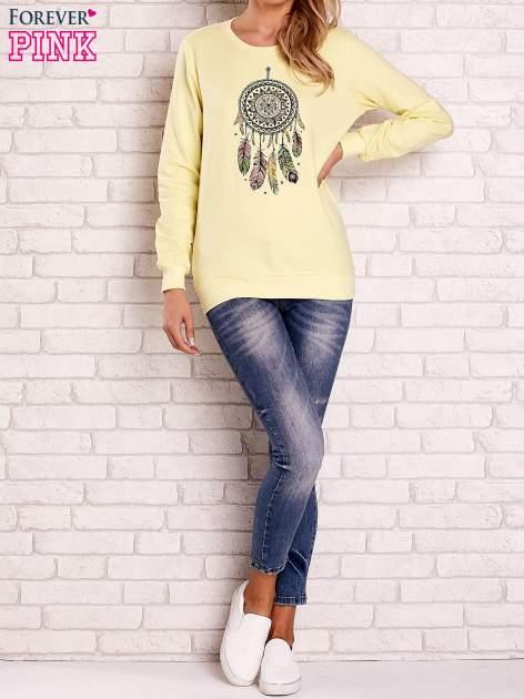 Żółta bluza z nadrukiem łapacza snów                                  zdj.                                  4