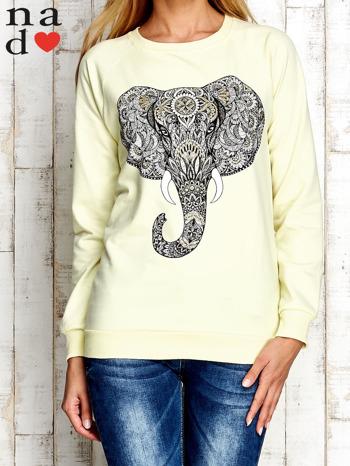 Żółta bluza z nadrukiem słonia                                  zdj.                                  1