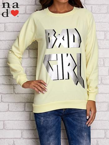 Żółta bluza z napisem BAD GIRL                                  zdj.                                  1