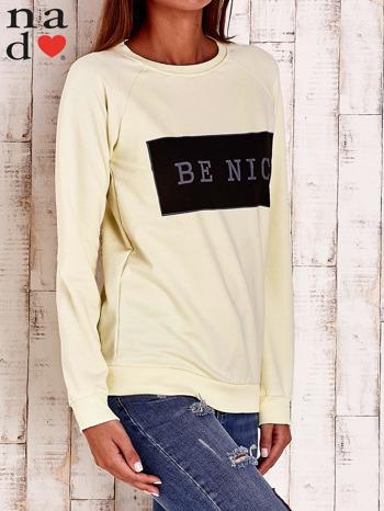Żółta bluza z napisem BE NICE                                  zdj.                                  3