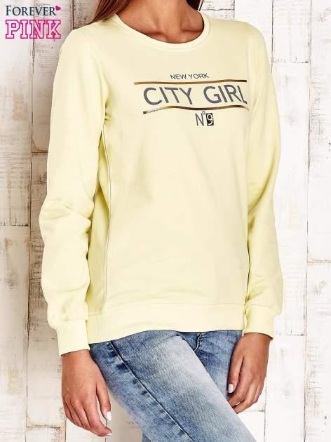 Żółta bluza z napisem CITY GIRL                                  zdj.                                  3
