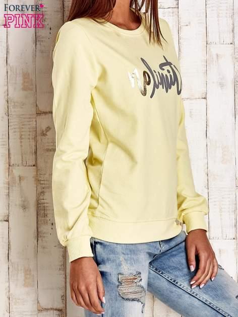 Żółta bluza z napisem NO LIMITS                                  zdj.                                  3