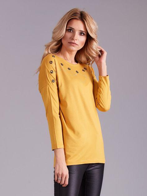 Żółta bluzka damska z aplikacją                              zdj.                              3