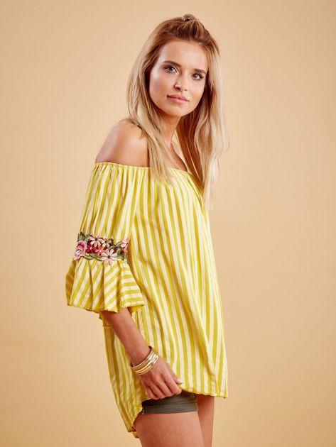 Żółta bluzka hiszpanka w paski z kwiatowymi wstawkami                              zdj.                              3