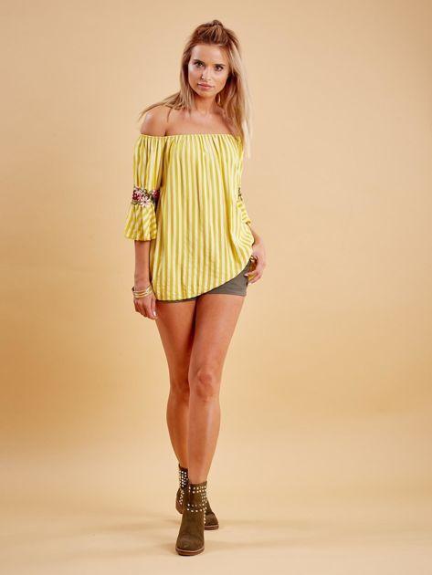 Żółta bluzka hiszpanka w paski z kwiatowymi wstawkami                              zdj.                              4