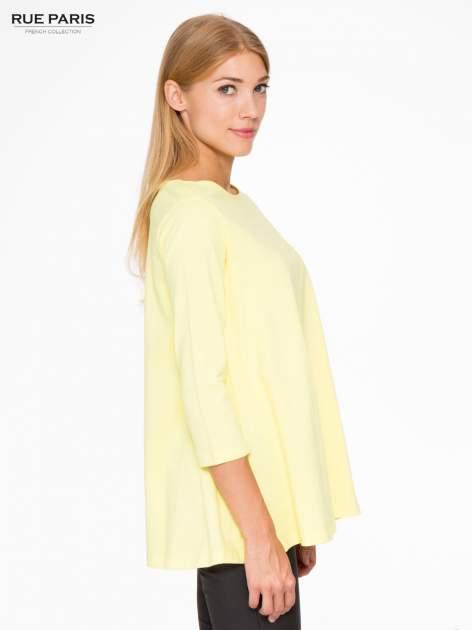 Żółta bluzka o rozkloszowanym kroju z rękawem 3/4                                  zdj.                                  3