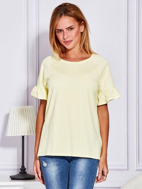 Żółta bluzka z falbanami na rękawach                                  zdj.                                  1