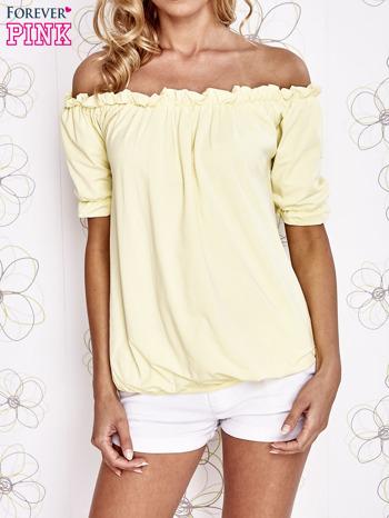 Żółta bluzka z hiszpańskim dekoltem                                   zdj.                                  1