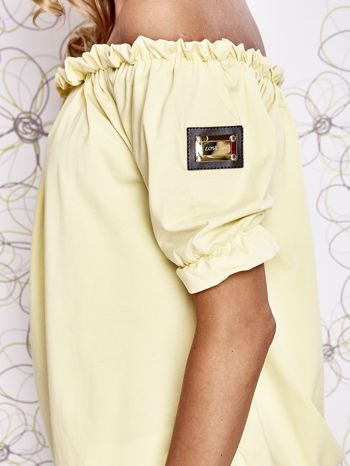 Żółta bluzka z hiszpańskim dekoltem                                   zdj.                                  5